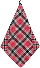 Red Gray Black Plaid Print Microfiber Golf Towel by BeeJos