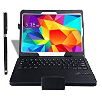 IVSO Samsung Galaxy Tab S 10.5 Ultra-Thin High Quality Bluetooth Keyboard Portfolio Case - DETACHABLE Bluetooth Keyboard Stand Case / Cover for Samsung Galaxy Tab S 10.5 Tablet-With a Stylus Pen (Black) from Gambolex
