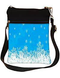 Snoogg White And Blue Abstract Cross Body Tote Bag / Shoulder Sling Carry Bag