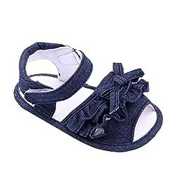 Weixinbuy Infant Girls Denim Ruffle Soft Sole Toddler Sandals