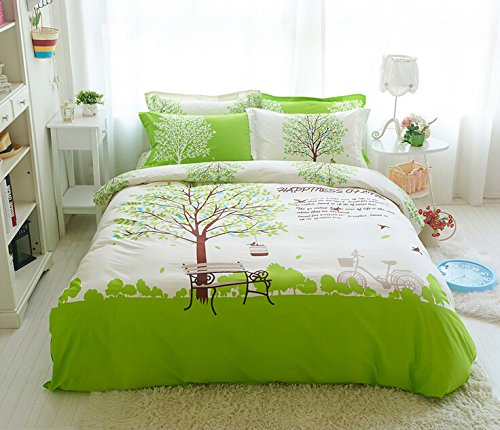 Sisbay Romantic Green Forest Bedding Twin Size,Boys Girls Fashion Print Duvet Cover,Modern Cotton Fitted Sheet,4PC