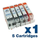 5 x Canon PGI-5/CLI-8 Compatible Ink Cartridges ** CHIPPED ** - Pack contains 1 each of PGI-5BK Large Black, CLI-8BK Black, CLI-8C Cyan, CLI-8M Magenta, CLI-8Y Yellow for use with Canon Pixma iP4200, iP4300, iP4500, iP5100, iP5200, iP5200R, iP5300, MP500