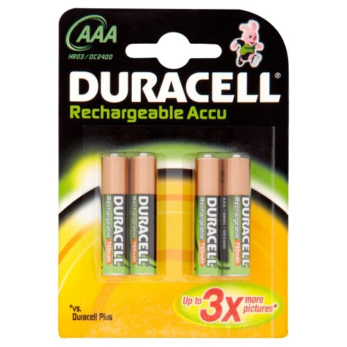 piles rechargeables duracell pile rechargeable aaa x 4 lr03. Black Bedroom Furniture Sets. Home Design Ideas