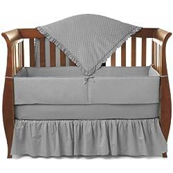 American Baby Company Heavenly Soft Minky Dot Chenille Crib Bedding Set, Gray, 4 Piece