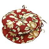 Greendale Home Fashions Round Outdoor Bistro Chair Cushion, 18-Inch, Roma Floral, Set of 2