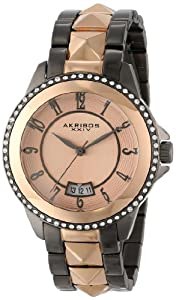 Akribos XXIV Women's AK654TTR Impeccable Swarovski Crystal Accented Gunmetal Rose-Tone Pyramid Stainless Steel Bracelet Watch