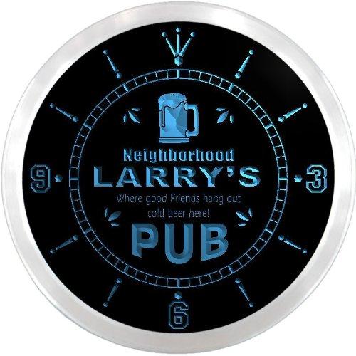 Ncpg0029-B Larry'S Neighborhood Pub Bar Beer Pub Led Neon Sign Wall Clock