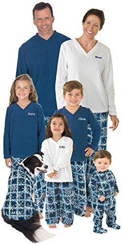 PajamaGram Blue Snowflake Fleece Matching Family Pajama Set