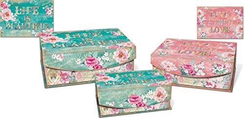 Punch Studio Medium Nesting Flip Top Boxes 3-Piece Set (World Of Atlas)