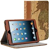 iPad Air Case, GMYLE Book Case Vintage for iPad Air - Brown Map Pattern PU Leather Protective Magnetic Book style Flip Folio Slim Fit Stand Case Cover (with card slots and money pocket)