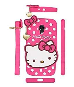 mobbysolTM Cute Hello Kitty Silicone With Pendant Back Case Cover For Moto G2 (Pink)