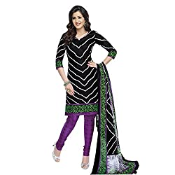 Rajnandini Women's Black pure cotton Printed Unstitched salwar suit Dress Material (Free Size)