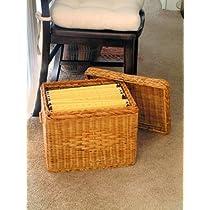 File Box - Wicker w/ file rods & lid - Letter size