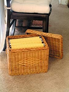 "File Box - Wicker w/ file rods & lid - Letter size (Natural) (13""H x 12""W x 15""D)"