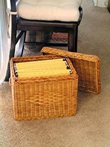 """File Box - Wicker w/ file rods & lid - Letter size (Natural) (13""""H x 12""""W x 15""""D)"""