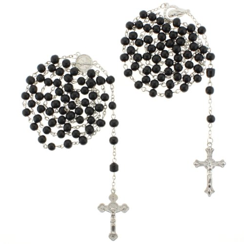Saint Benedict and Madonna Black Glass Bead Rosaries - 6mm Beads - 28'' Necklace Length, 25'' Overall - Sold as a Set of 2