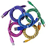 5x Colorful USB DATA 6Ft/2M Fabric Braided Sync Cable Charger Cord for iPhone 5/iphone5s/iphone5c Doubtless Bay (Blue+Green+Yellow+Rose+Purple)