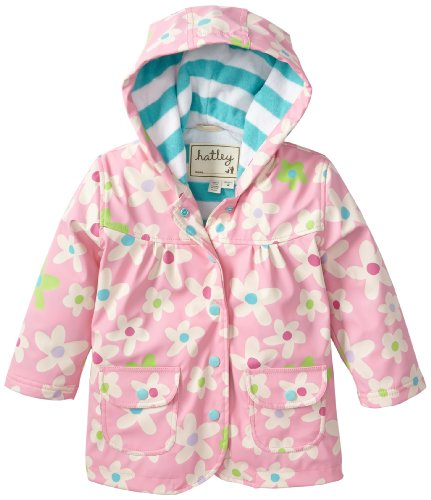 Hatley Little Girls' Raincoat Fresh Flowers, Pink, 3T front-945558
