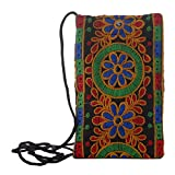 #10: Mela Ethnic Finish Embroidered Fabric Mobile Pouch-Multicolor ( 5