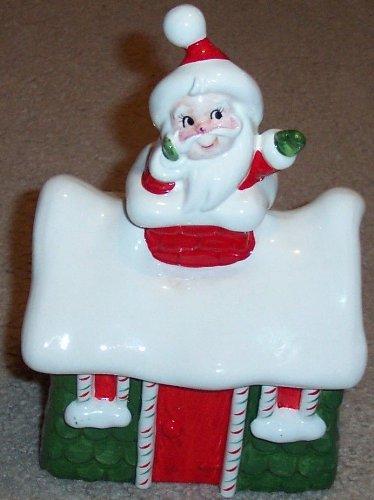 Vintage Lefton Japan Ceramic Christmas Cookie Jar - Santa in Chimney of House