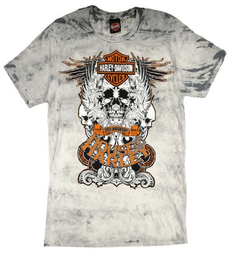 House of Harley® Men's Grind Skull Harley-Davidson® Bar & Shield Logo 110th Anniversary Tee Shirt. House of Harley® Graphics Front and Back. All Cotton T-Shirt. 302962710