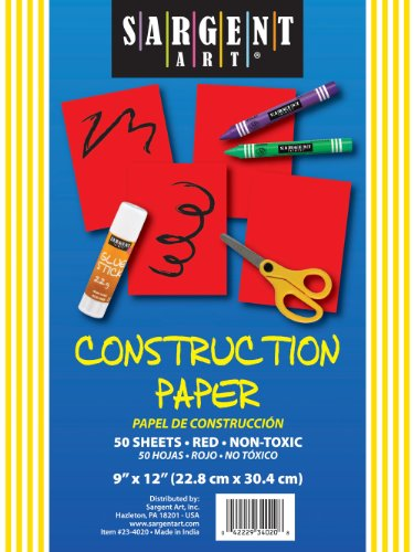 Sargent Art 23-4020 50-Count Red Construction Paper - 1