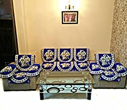 GOLD LILY BLUE POLYCOTTON SOFA SLIPCOVER SET WITH 6 ARMS COVER