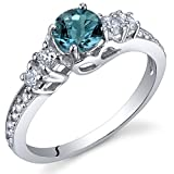 Enchanting 0.50 Carats London Blue Topaz Ring in Sterling Silver Rhodium Nickel Finish Size 7