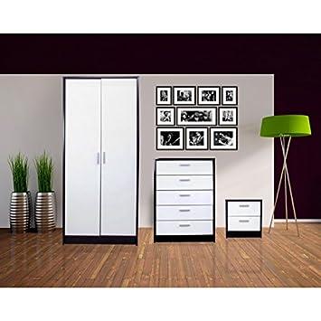 Khabat 2 Door Plain 3 Piece Set White/Black + Pablo 5ft Kingsize White Standard Bed