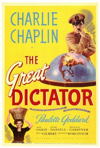 "movie poster for ""The Great Dictator"" starring Charlie Chaplin"