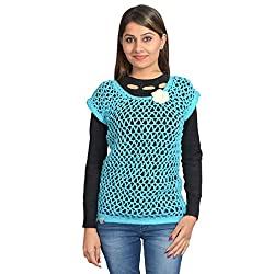 MOM's Touch Women's Sweater (NETFLOWERSKYSMALL_Blue White_Small)