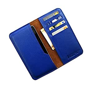 i-KitPit : Genuine Leather Wallet Flip Pouch Case For Spice Stellar (MI-425) (BLUE)