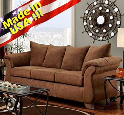 Roundhill Furniture Aruba Microfiber Pillow Back Sofa, Chocolate