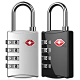 Puroma 2 Pack TSA Approved Locks 4 Digit Combination Padlock for Luggage Travel Suitcase Backpack Gym Locker Baggage ( Black & Silver)