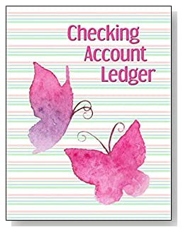 Pink Butterflies and Stripes Checking Account Ledger - A beautiful book with wide lines to easily track all your checking account activity without having to write tiny and cram everything into those little check register booklets.