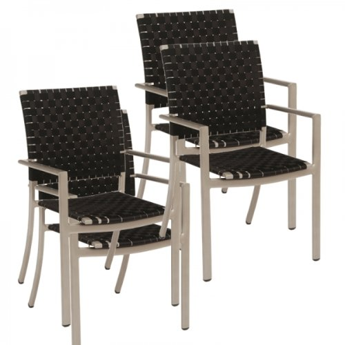 Garten Sessel Set 4 Stück – Moderner Stapelsessel Safari mit Gurtbespannung in schwarz und Gestell in graphit günstig