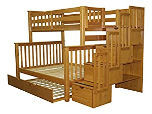 Bedz King Stairway Bunk Bed with Twin Trundle, Twin Over Full, Honey