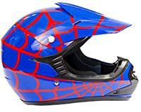 Youth Kids Offroad Helmet DOT Motocross ATV Dirt Bike MX Motorcycle - Red Blue Spiderman - XL by Typhoon Helmets