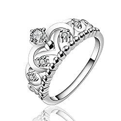 Yellow Chimes Royal Crown Austrian Crystal 925 Silver Plated Ring For Women