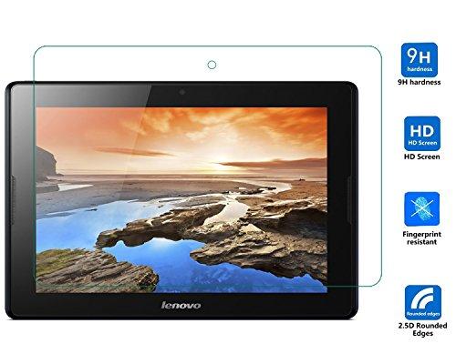 Lenovo A10-70 Displayschutzfolie, IVSO Hohe Qualität Glas Explosionsgeschützte Display Schutz Folie -mit ultra-Stärke, ultra-klare Transparenz für Lenovo A10-70 25,7 cm (10,1 Zoll HD IPS) Tablet, Crystal Glass