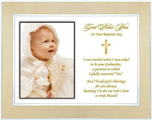 Godchild Baptism or Christening Gift - Baptism Keepsake Poem from Godmother to Godchild - Gold Metallic Frame - Add Photo - 1