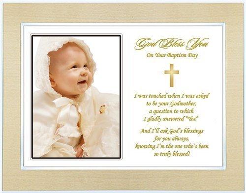 Godchild Baptism or Christening Gift - Baptism Keepsake Poem from Godmother to Godchild - Gold Metallic Frame - Add Photo - 1