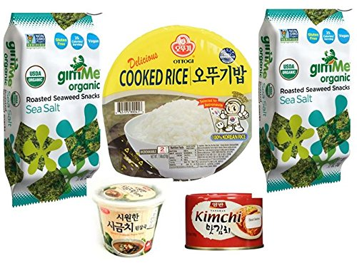 Spinach Soybean Paste Soup + 1 Rice + 1 Kim Chi + 2 Roasted Seaweed(Gim) (Roasted Seaweed Kimchi compare prices)