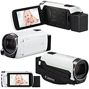 Canon VIXIA HF R700 Full HD Camcorder with 57x Advanced Zoom, White (International Version) + Rechargeable Battery & AC/DC Charger + 64GB 9pc Dlx Accessory Kit w/ HeroFiber Cleaning Cloth