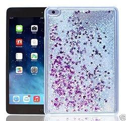 Aeoss Ipad Mini Case Cover , Bling Glitter Love Heart Liquid Sand Tablet Cover Crystal Hard Quicksand Capa Para Case For Ipad Mini 4 3D Liquid Case for Apple iPad Mini Creative Design Bling Glitter Shiny Quicksand