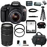 Canon EOS Rebel T5 DSLR Camera with EF-S 18-55mm IS II Lens + Canon 75-300mm Lens + 64GB Memory Card + Extra Battery Pack + Deluxe Accessory Kit
