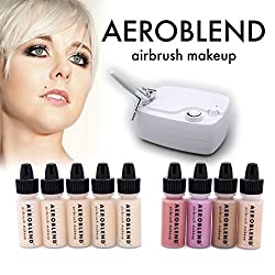 Aeroblend Airbrush Makeup Cosmetic Personal Starter Kit LIGHT / 5 Airbrush Foundation, Bronzer, Highlight, Blush