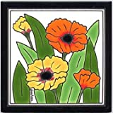 POPPIES TILE, POPPIES WALL PLAQUE, POPPIES TRIVET by Besheer Art Tile, Bedford, New Hampshire, U.S.A.