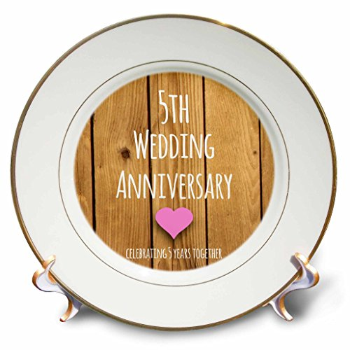 3dRose cp_154433_1 5th Wedding Anniversary Gift Wood Celebrating 5 Years Together Fifth Anniversaries Five Yrs Porcelain Plate, 8-Inch
