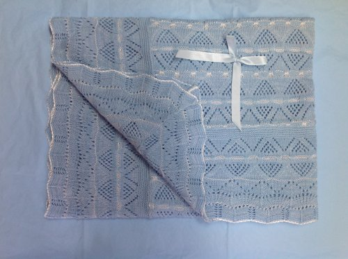 """Soft Crochet Baby Blanket 44"""" X 37"""" New Baby Gift - Blue front-881344"""